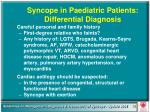 syncope in paediatric patients differential diagnosis