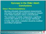 syncope in the older adult conclusions