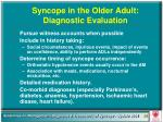 syncope in the older adult diagnostic evaluation