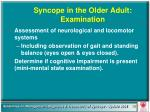 syncope in the older adult examination