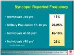 syncope reported frequency