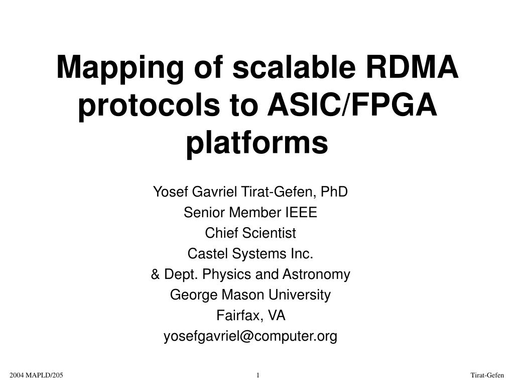 mapping of scalable rdma protocols to asic fpga platforms l.