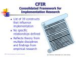 cfir consolidated framework for implementation research