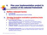 plan your implementation project in context of the selected framework