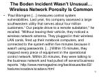 the boden incident wasn t unusual wireless network porosity is common