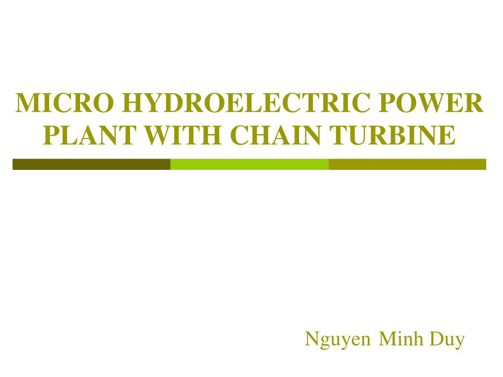 micro hydroelectric power plant with chain turbine l.