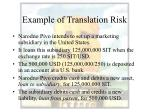 example of translation risk