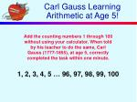 carl gauss learning arithmetic at age 5