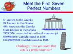 meet the first seven perfect numbers