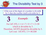 the divisibility test by 3