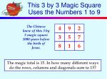 this 3 by 3 magic square uses the numbers 1 to 9