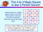 this 4 by 4 magic square is also a perfect square