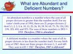 what are abundant and deficient numbers