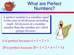 what are perfect numbers