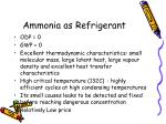 ammonia as refrigerant