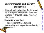 environmental and safety properties27
