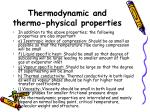 thermodynamic and thermo physical properties21