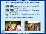 key opportunities for citizen involvement
