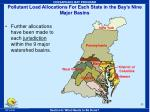 pollutant load allocations for each state in the bay s nine major basins