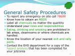 general safety procedures73