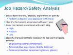 job hazard safety analysis