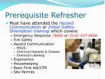 prerequisite refresher