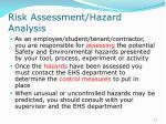 risk assessment hazard analysis