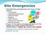 site emergencies