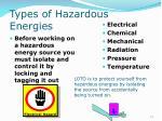 types of hazardous energies