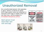unauthorized removal