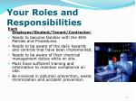 your roles and responsibilities