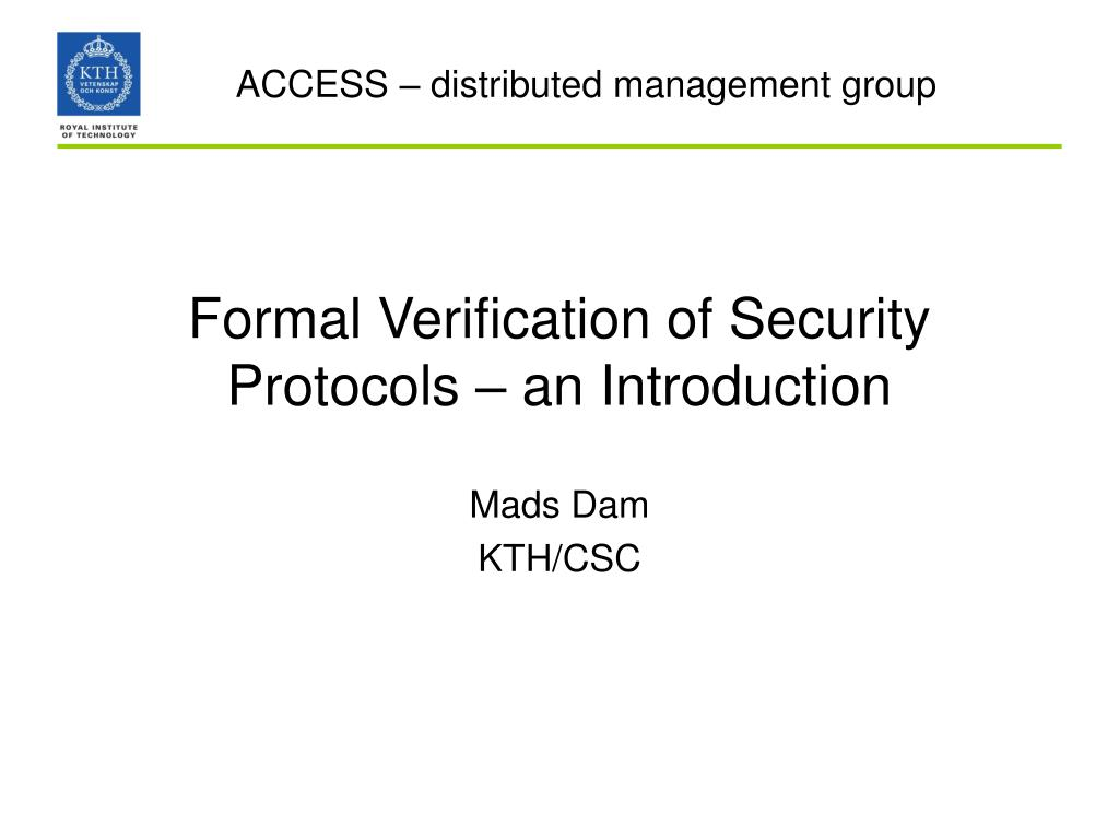 formal verification of security protocols an introduction l.