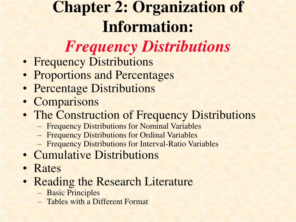 chapter 2 organization of information frequency distributions l.
