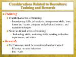 considerations related to recruiters training and rewards