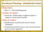 recruitment planning administrative issues