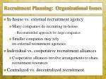 recruitment planning organizational issues
