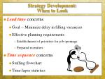 strategy development when to look