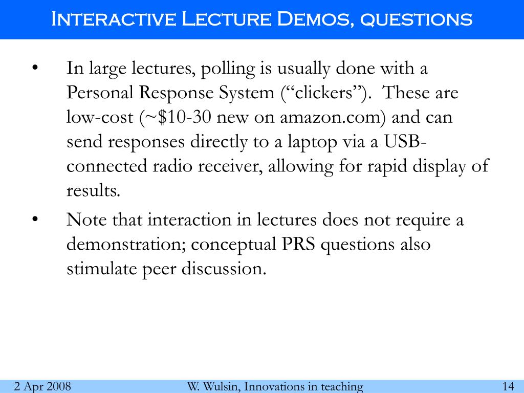 Interactive Lecture Demos, questions