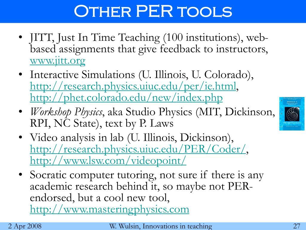 Other PER tools