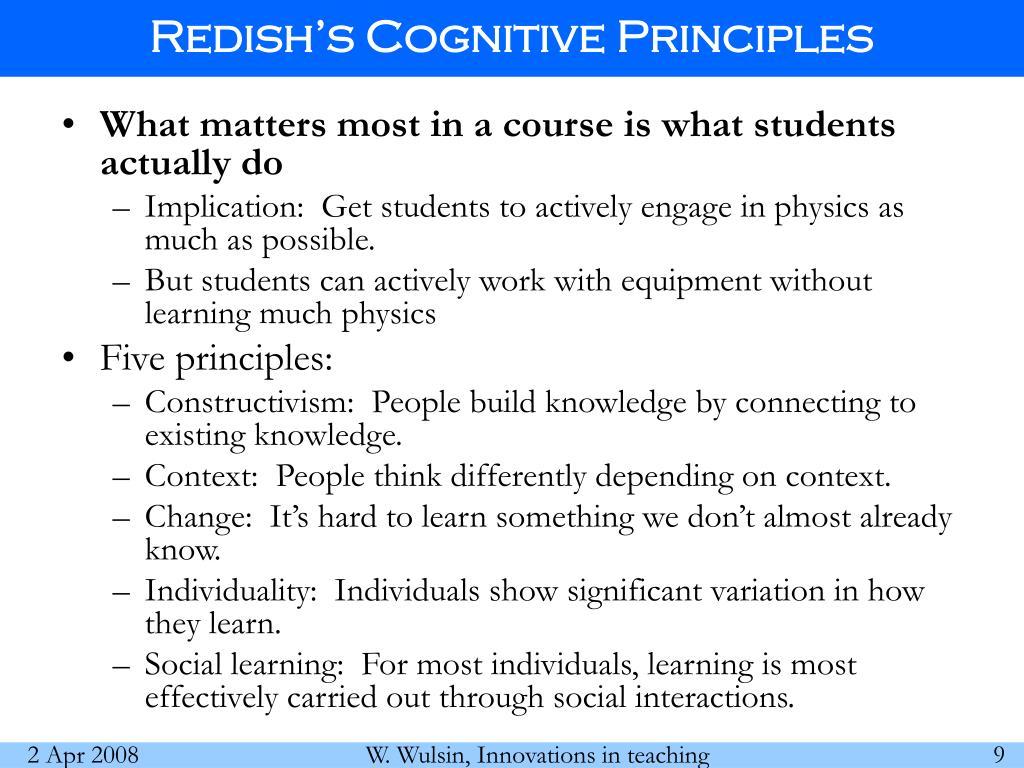 Redish's Cognitive Principles