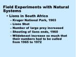 field experiments with natural systems