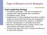 types of business level strategies