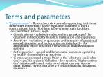terms and parameters