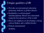 unique qualities of ib