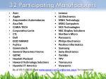 32 participating manufacturers