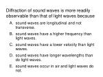 diffraction of sound waves is more readily observable than that of light waves because