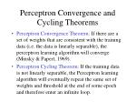 perceptron convergence and cycling theorems
