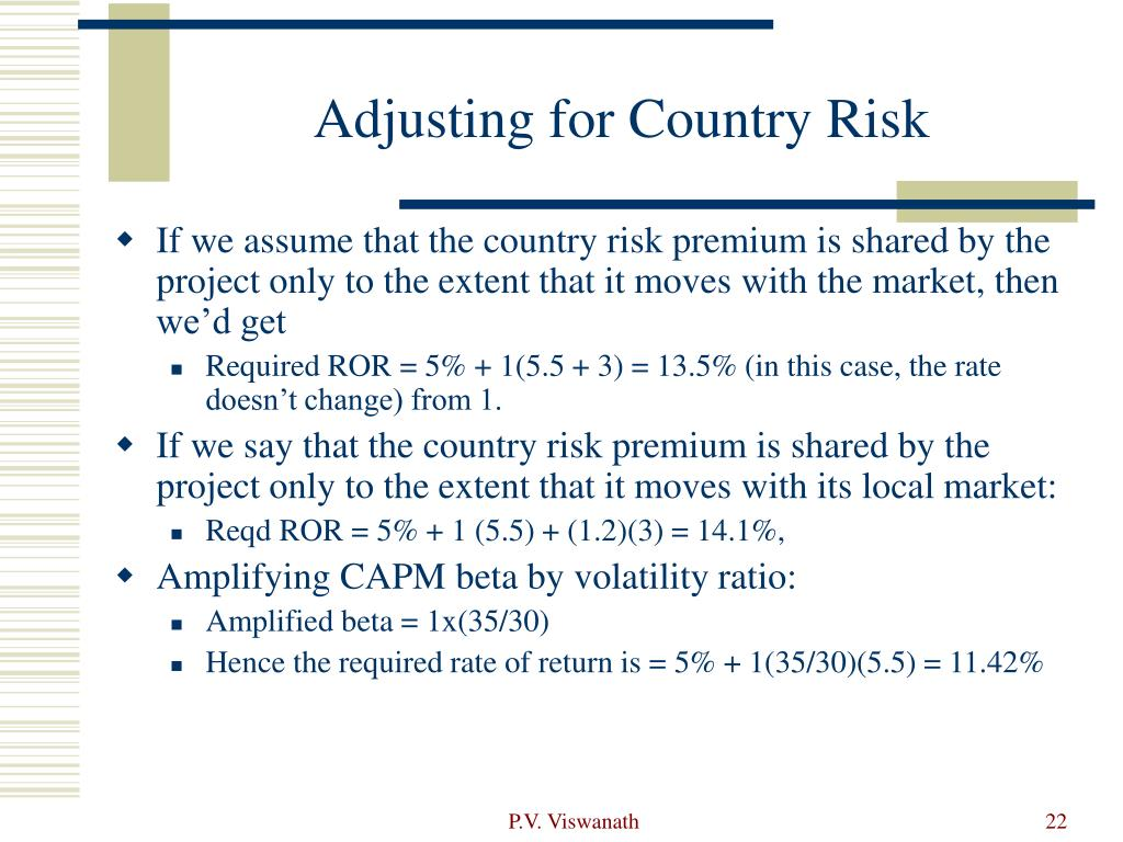 Adjusting for Country Risk