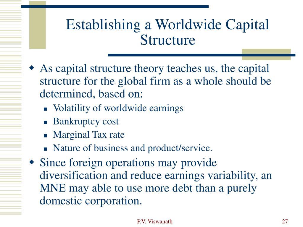 Establishing a Worldwide Capital Structure