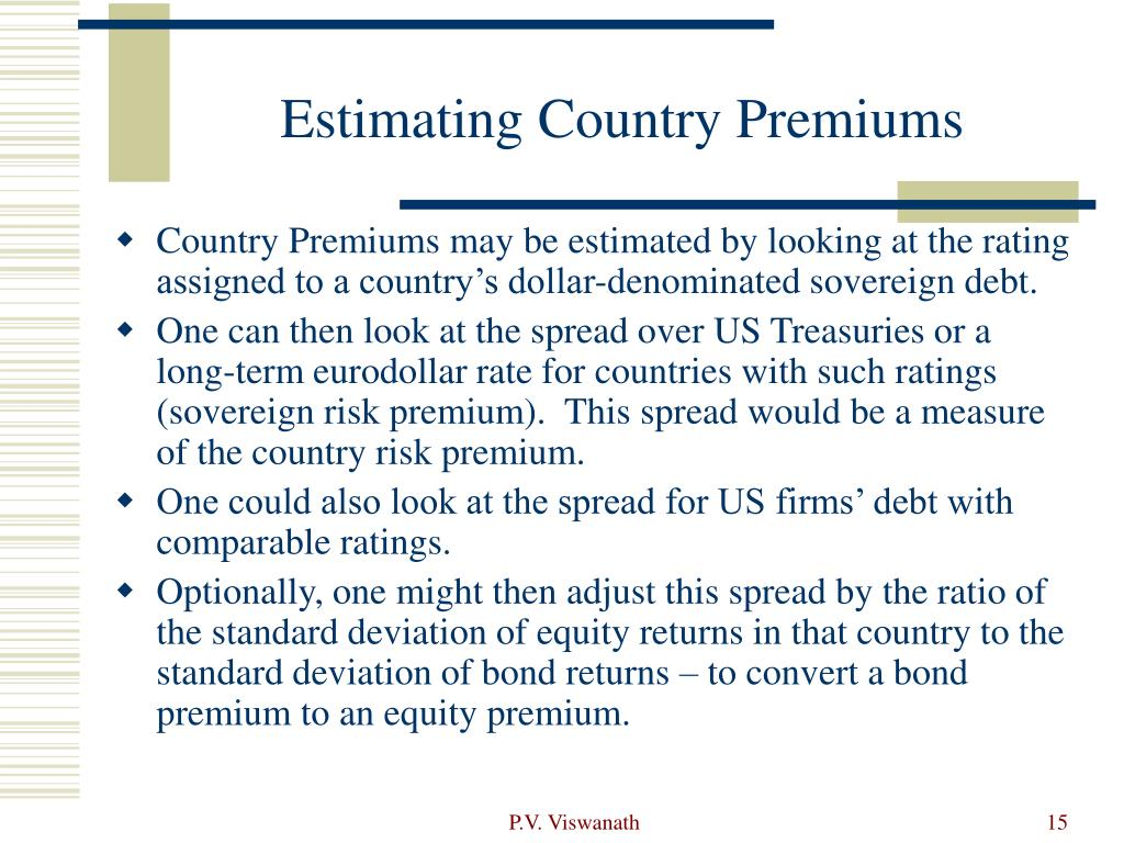 Estimating Country Premiums